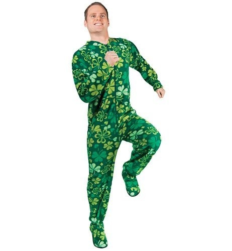 PajamaCity offer the best PajamaCity Lucky Green Shamrocks and Clovers Print Fleece Footed Pajamas for Teens and Adults Size 7 (5'10o to 6'1o). #pajamas #footed