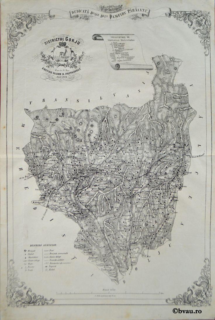"""Districtul Gorju, întocmit şi editat de Maior D. Pappasoglu, 1864. Imagine din colecțiile Bibliotecii """"V.A. Urechia"""" Galați."""