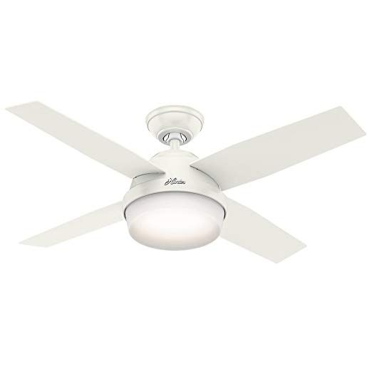 Hunter Dempsey 44 White Led Indoor Ceiling Fan With Skyplug Technology For Instant Plug Lighting In 2019 White Ceiling Fan Ceiling Fan Hunter Ceiling