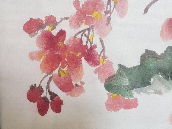 Original Traditional Chinese Painting Begonia And Sparrow Etsy Chinese Painting Painting Begonia