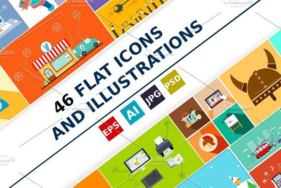 Flat icons and illustrations by Nicolai-works on @creativemarket