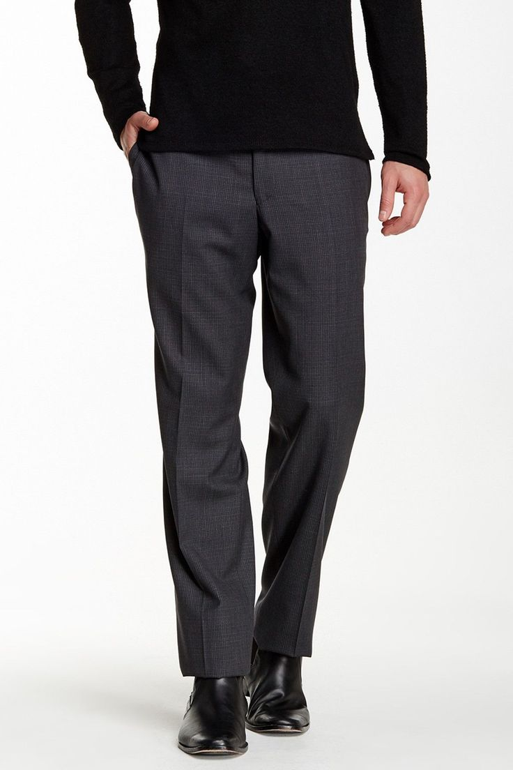 Extra Trim Fit Charcoal Striped Wool Suit Separates Pant