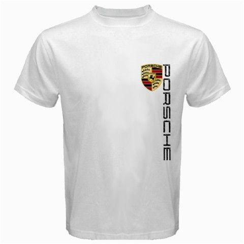 Porsche Logo T Shirt Men Short Sleeve Tshirt White Cotton