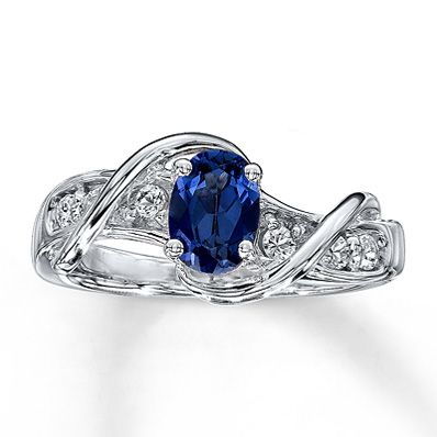Lab-Created Sapphire Ring Oval-Cut  Sterling Silver  If only I could wear sterling silver, this would be a dream ring...