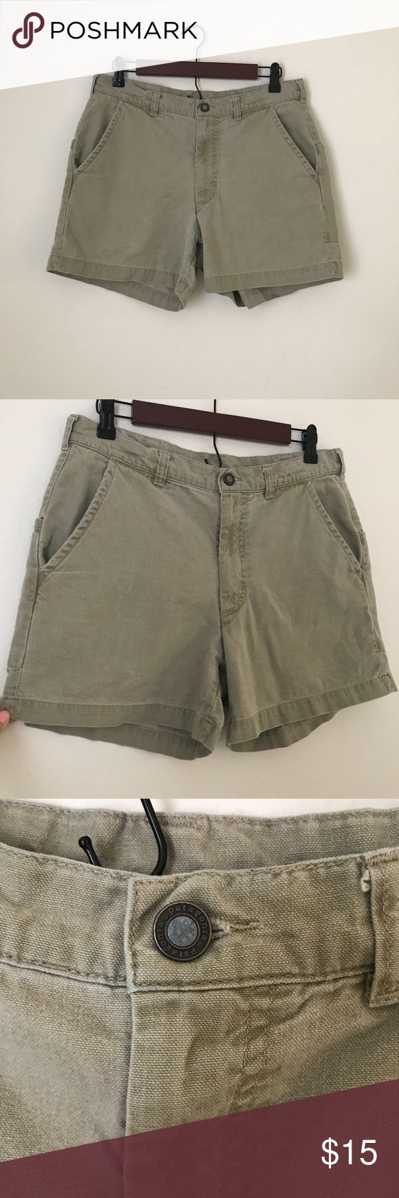 """Patagonia Men's Khaki Shorts 100% organic cotton Machine wash Only """"flaw"""" is the size written on inside Patagonia Shorts"""