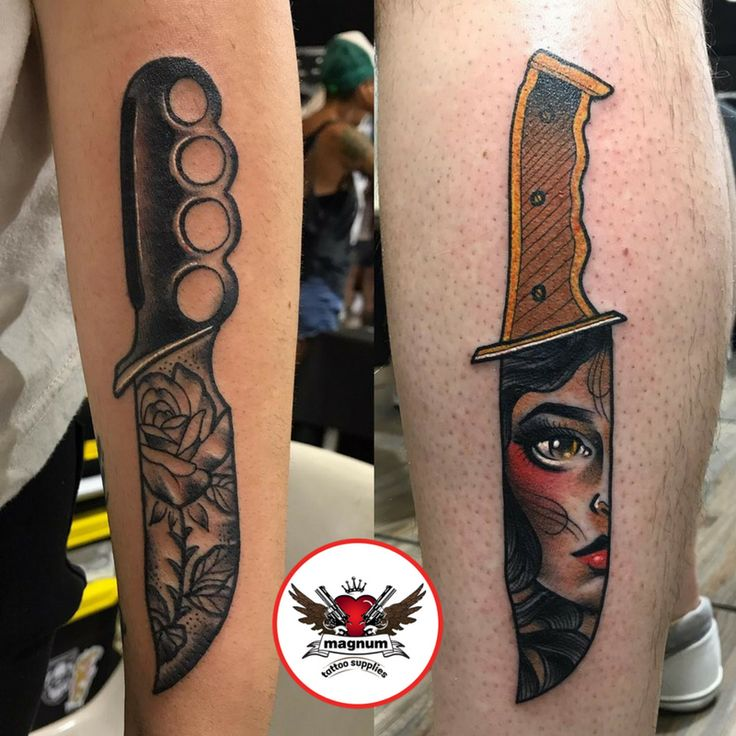 Sick knife done with #magnumtattoosupplies by Adam Link! 👊🏻👊🏻👊🏻
