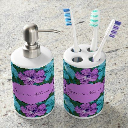 Tropical Hibiscus Turquoise and Purple Bath Set - flower gifts floral flowers diy