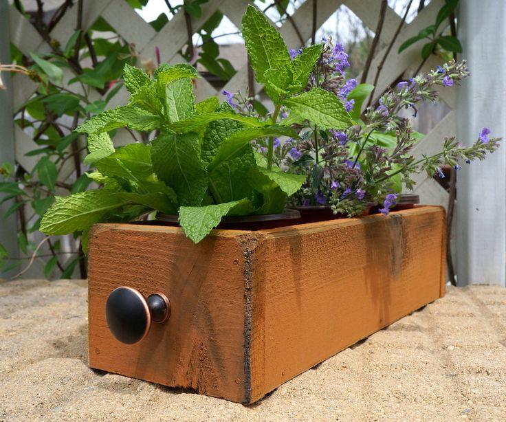 Cedar Herb Planter Box Indoor Planter Window By TimberlaneGardens