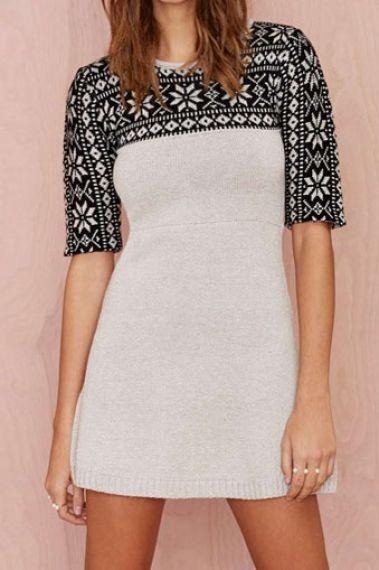 Black White Long Sleeve Snow Print Dress