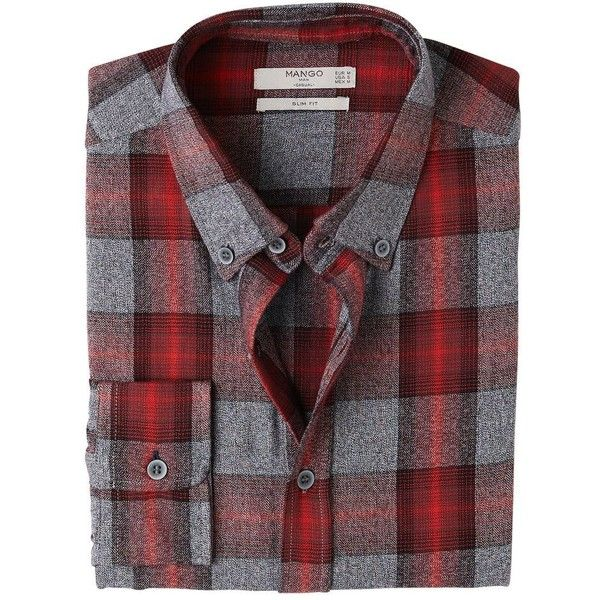MANGO MAN Slim-fit check flannel shirt ($23) ❤ liked on Polyvore featuring tops, red, mens checked shirts, mens checkered shirts, mens casual long sleeve button down shirts, mens slim shirts and mens red flannel shirt