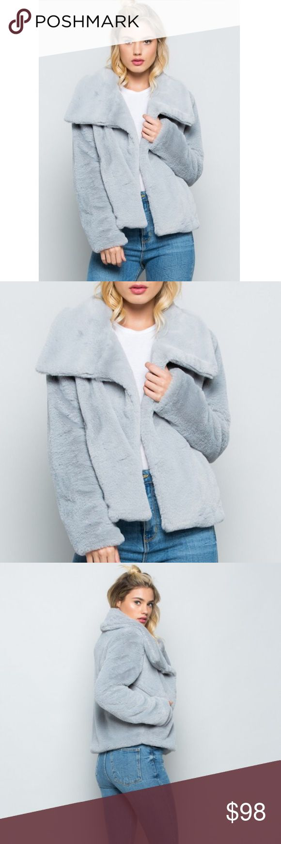 """🆕Vanessa Gray Faux Fur Jacket New Boutique Item. The Vannessa Coat features a soft cozy faux fur material, gorgeous exaggerated collar, and pockets. Perfect jacket to dress up and dress down! Great faux Fur Jacket for New Years Eve! Color(s): Gray Material: 100% Polyester  Length: 24"""" Imported Jackets & Coats"""