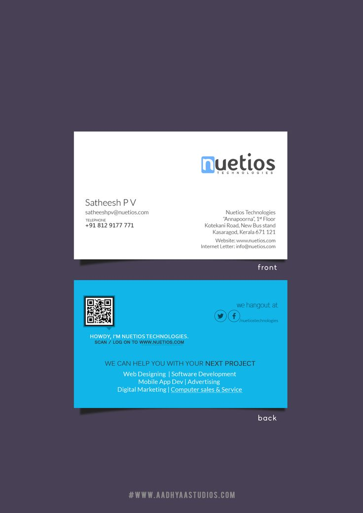 Visiting Card Design For Nuetios Technologies  Just Take A Look
