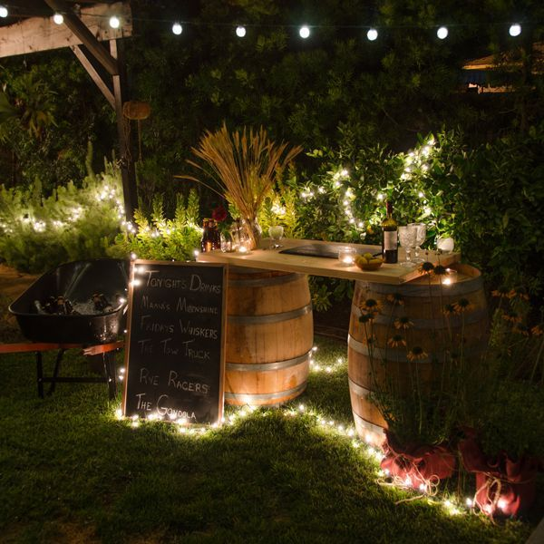 Sting outdoor lights around the #DIY bar you've made for the perfect lighting once the sun goes down.