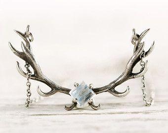 Herten gewei ketting Moonstone bedel Sterling zilveren hoorns Boho sieraden - FPE017