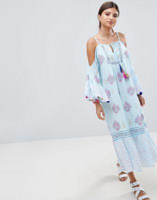 99570e1276 South Beach Maxi Crepe Block Print Beach Dress With Pom Pom Sleeve Trim