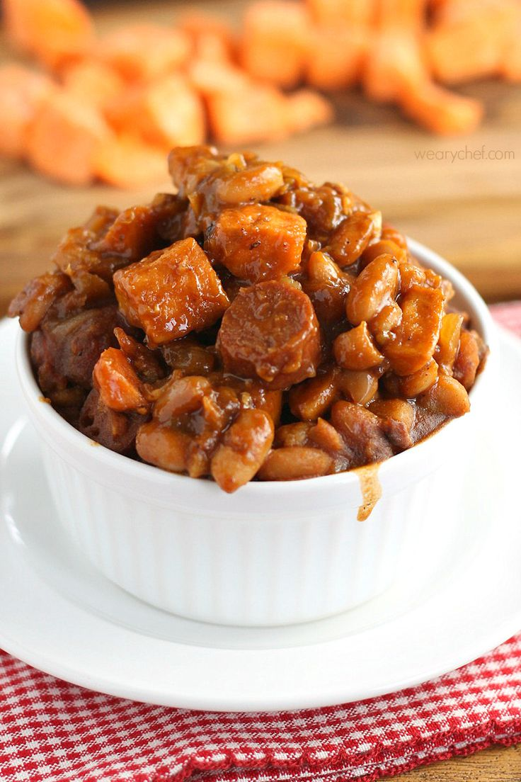 These hearty, comforting, delicious Franks and Beans with Sweet Potatoes are a perfect one-bowl dinner!