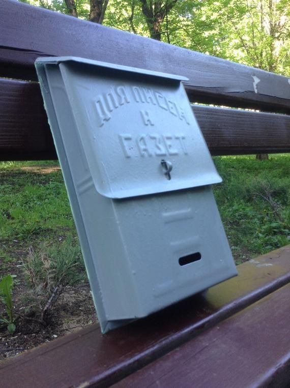 Soviet Vintage Mailbox Primitive Original Retro Mailbox Locking Old Letterbox Light Gray Metal Ch Vintage Mailbox Rustic Storage Boxes Retro Mailbox