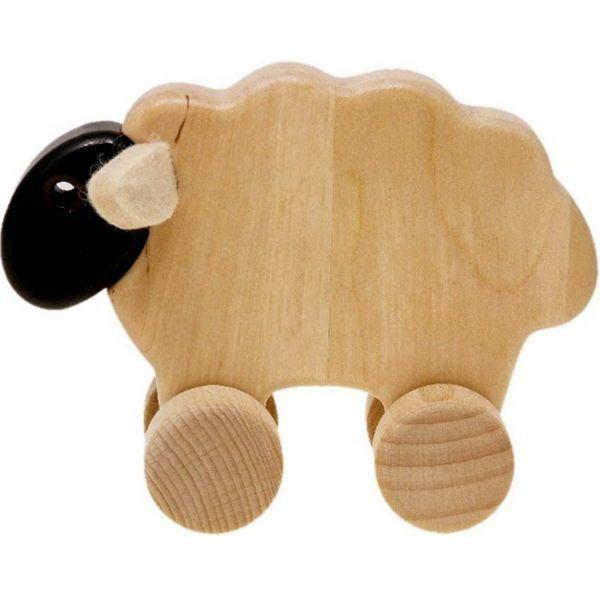 Ένα χαριτωμένο τροχήλατο προβατάκι με μαύρο κεφάλι από φυσικό ξύλο και αυτάκια από τσόχα. Κατάλληλο από 18 μηνών.