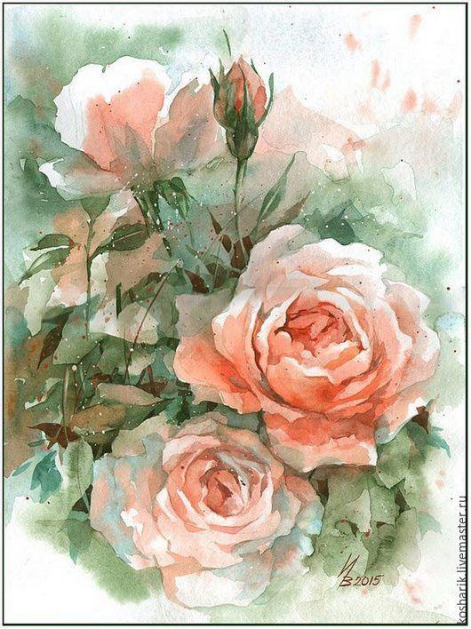 Купить О розах в январе - комбинированный, розы, цветы, акварель, подарок, картина акварелью, акварель