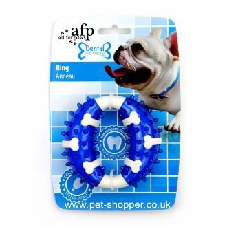 All For Paws Dental Dog Chews Ring Blue Dog Toy. All for Paws blue dental ring of chicken flavor will certainly spice up your dog's chewing routine.