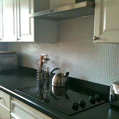 Our Moddotz Porcelain Penny Round Tile In White Color Marshmallow Kitchen Backsplash