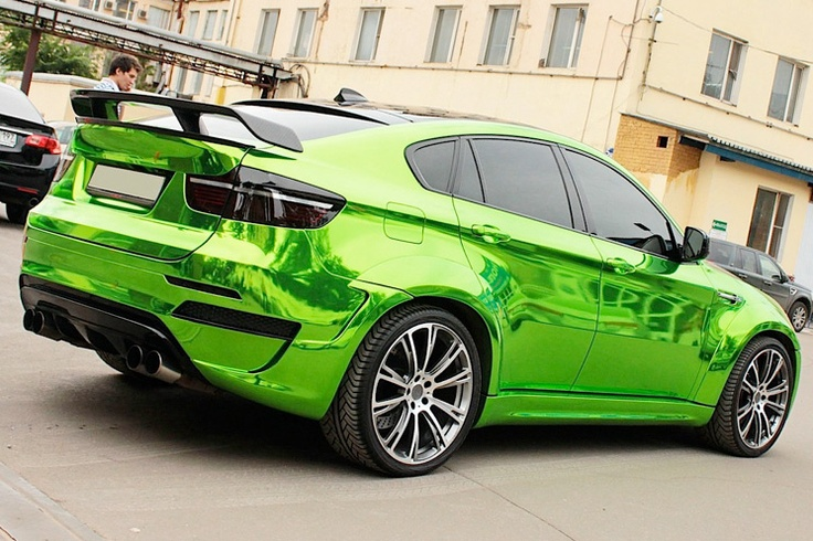 Delightful Lime Green Chrome Car With Carbon Finer Hood 3