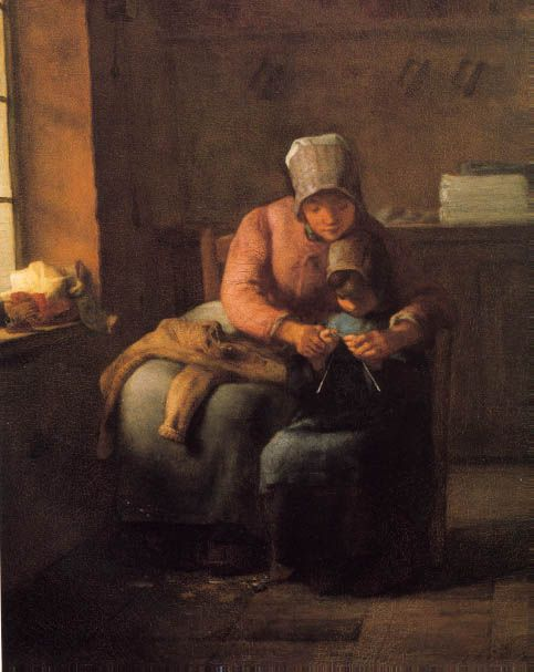 Millet : The Knitting Lesson