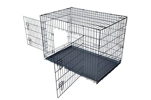 I just bought this and love it. PayLessHere 42″ XXL Dog Crate W/Divider Double-doors Folding Metal Dog Cage w/ Free Tray . you can see what others said about it here http://bridgerguide.com/paylesshere-42-xxl-dog-crate-wdivider-double-doors-folding-metal-dog-cage-w-free-tray/