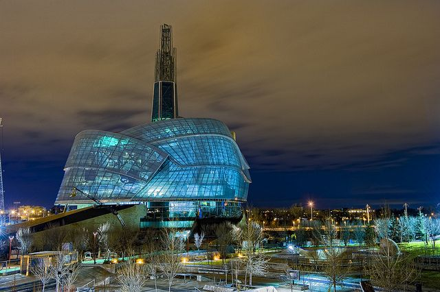 Canadian Museum for Human Rights at night, The Forks, Winnipeg, Manitoba. Photo by hackundertaker, via Flickr