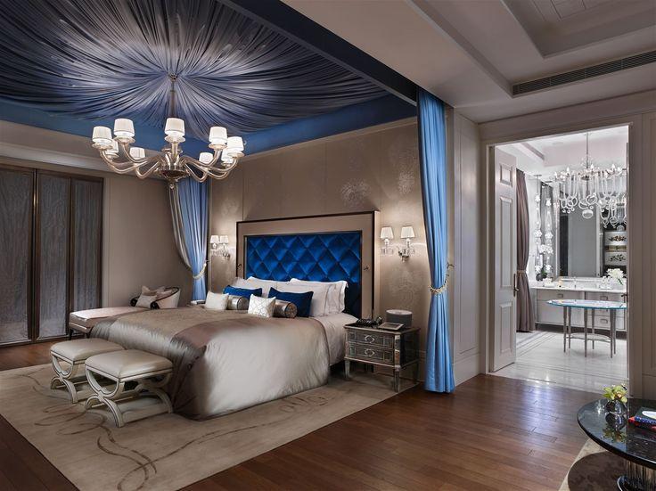 Mandarin Oriental Taipei, Taiwan. #luxurious #lighting #interior #design #hotel #bed #room #chandelier #wallsconces