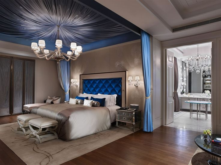 Mandarin Oriental Taipei, Taiwan. #luxurious #lighting #interior #design #hotel #bed #room #chandelier #wallsconces