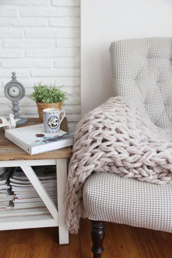 A chunky hand-knitted blanket for the onset of snuggle weather. #etsyfinds