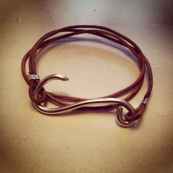Sterling Silver Hook and Leather Wrap Bracelet $40.00