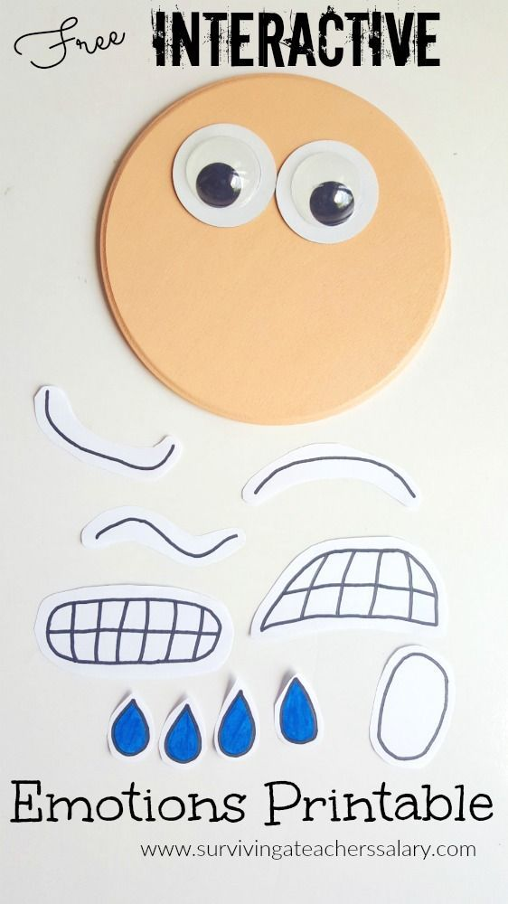 Free Interactive Printable Emotions Face activity with prompts and scenarios. GREAT for use at home, in the classroom, in therapy, with children who have autism or social skills deficits and more! My kids would have a blast with these 3D interactive faces! Go to: http://www.survivingateacherssalary.com/diy-emotions-face-interactive-craft/