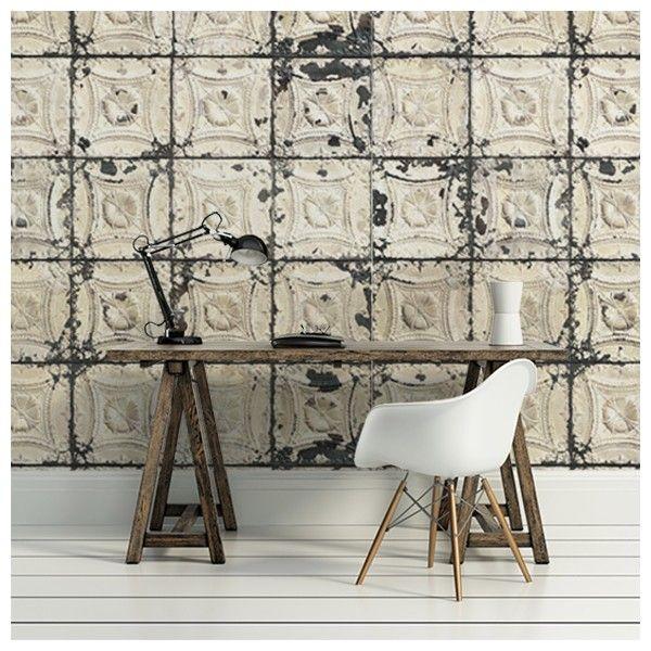 Le papier peint Brooklyn Tins d'Arte est une imitation de carreaux en étain. Ils habillaient au XIXème siècle les plafonds de certaines demeures.