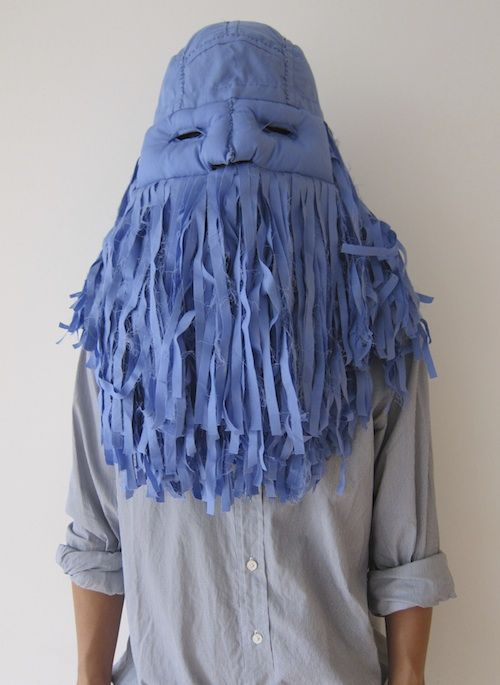 blue mask with massive beard by Shin Murayama, Howl 2013