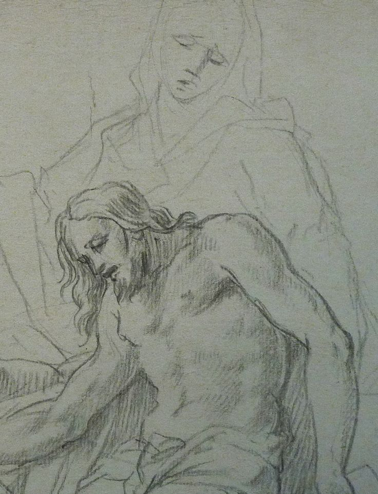 AVELLINO Anofrio - Le Christ mort soutenu par la Vierge et un Ange - drawing - Détail 12 - La Vierge et le Christ mort - Virgin and dead Christ -
