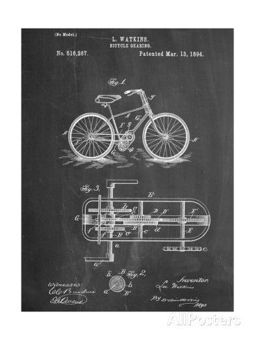 Bicycle Gearing Patent Art at AllPosters.com