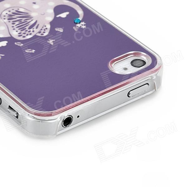 Elephant Pattern Protective TPU Hard Back Case w/ Rhinestone for Iphone 4 / 4S - Purple