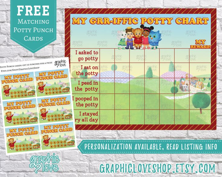 Printable Daniel Tiger Grr-iffic Potty Training Chart, FREE Punch Cards | Mr Rogers, PBS Kids, Neighborhood | JPG Files, Instant download by GraphicLoveShop on Etsy https://www.etsy.com/listing/288939571/printable-daniel-tiger-grr-iffic-potty