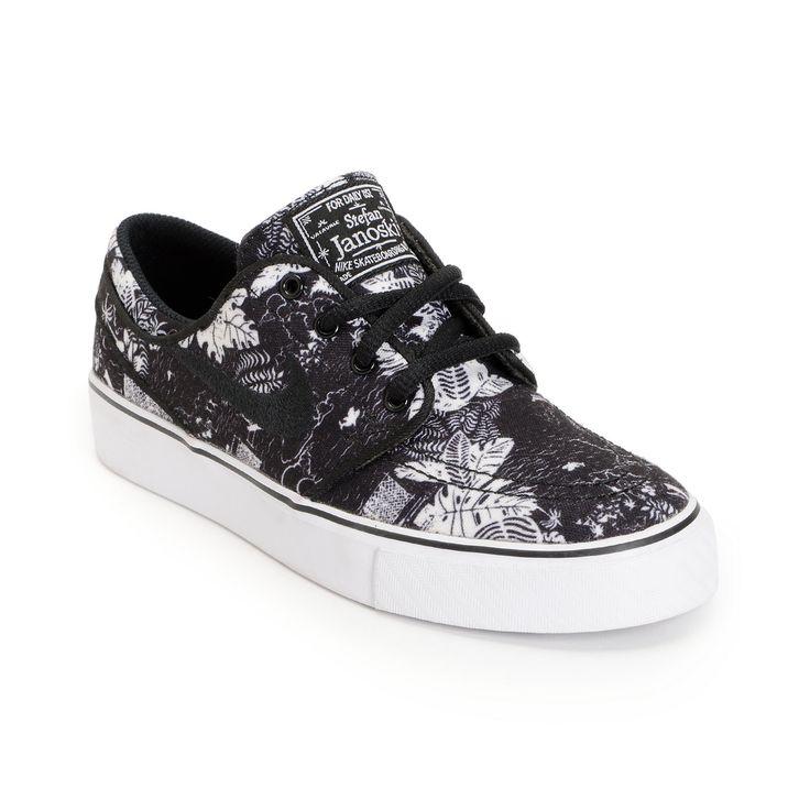 Nike SB Zoom Janoski GS Black & White Print Boys Shoe at Zumiez : PDP