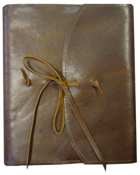 Leather Journal with Tie Closure - ends knot on front