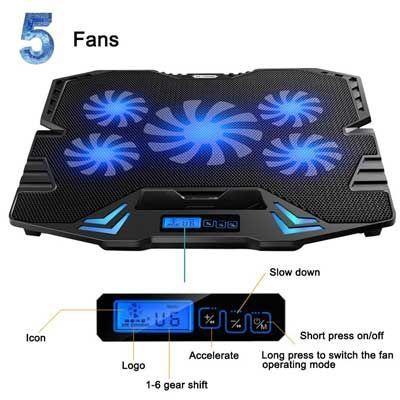 TopMate 12-15.6 inch Gaming Laptop Cooler
