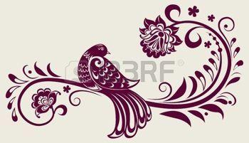 старинные цветочные фон с декоративной птицей photo