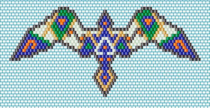 Sautoir oiseau en tissage brick stitch style amérindien - Perles & Co