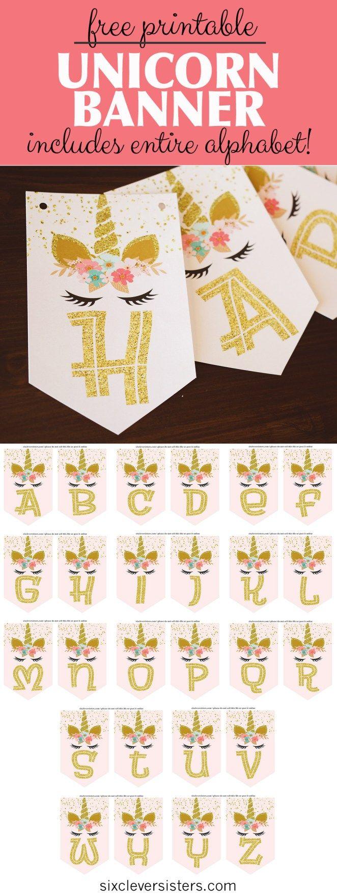 Einhorn-Banner kostenlos zum ausdrucken! (Pink & Gold Einhorn Banner!)   – Birthday Baby L