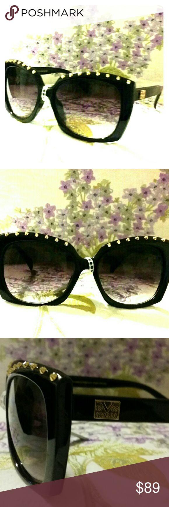 Versace 19.69 Abbigliamento Sportivo Sunglasses New Versace 19.69 Abbigliamento Sportivo sunglasses, gold studded, ?100% UVA & UVB protection Versace 19.69 Abbigliamento Sportivo Accessories Sunglasses