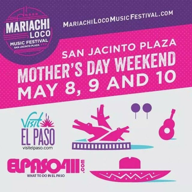 @mariachilocofestival is coming to El Paso Mother's Day Weekend(May 8-10!) The first event to be held at the newly remodeled San Jacinto Plaza! Featuring feature Folkloric Dancers, a Juan Gabriel Impersonator, Mexican food and of course.. the Mariachis! Get your tickets now at mariachilocomusicfestival.com  #MLMF #mariachilocomusicfestival