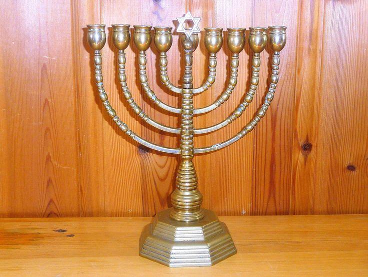 Vintage Brass Menorah Judaica Jewish Hanukkah 9 Arms Candelabra Star Of David Antique Israel Decor by Grandchildattic on Etsy