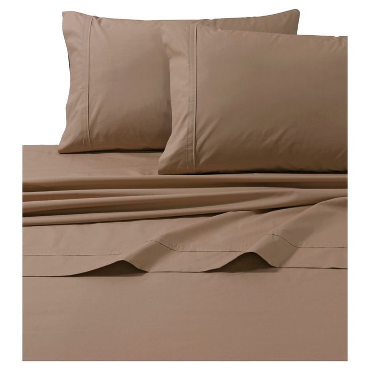 Cotton Percale Solid Sheet Set (Twin Extra Long) Coffee (Brown) 300 Thread Count - Tribeca Living